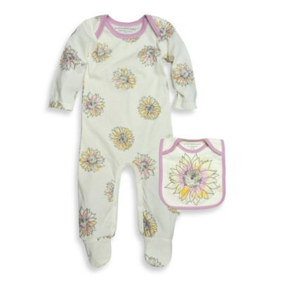 Burt's Bees Baby® Size 9M 2-Piece Organic Cotton Sunflower Coverall and Bib Set in Ivory