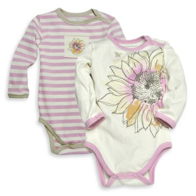 Burt's Bees Baby™ Newborn 2-Pack Organic Cotton Sunflower Bodysuits in Ivory/Pink