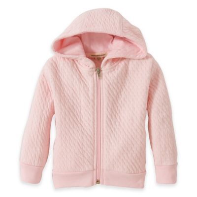 Burt's Bees Baby® Newborn Organic Cotton Textured Quilted Zip-Front Hoodie in Pink