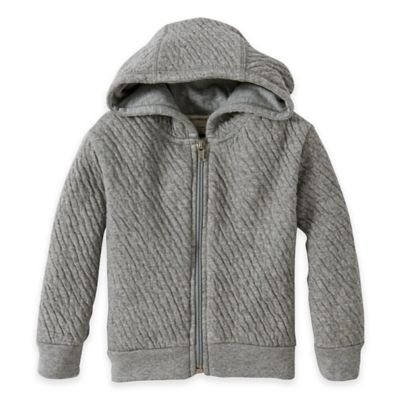 Burt's Bees Baby® Newborn Organic Cotton Textured Quilted Zip-Front Hoodie in Grey