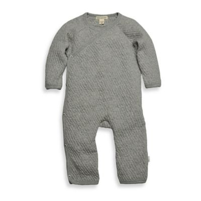 Burt's Bees Baby™ Newborn Organic Cotton Quilted Kimono Footless Coverall in Grey