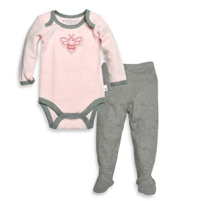 Burt's Bee's Baby™ Newborn 2-Piece Organic Cotton Bee Bodysuit and Pant Set in Grey/Pink