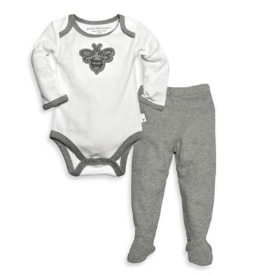 Burt's Bee's Baby™ Newborn 2-Piece Organic Cotton Bee Bodysuit and Pant Set in Grey