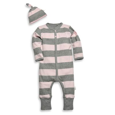 Burt's Bee's Baby™ Newborn 2-Piece Organic Cotton Stripe Coverall and Hat Set in Pink/Grey
