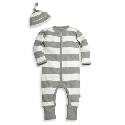Burt's Bees Baby™ Newborn 2-Piece Organic Cotton Stripe Coverall and Hat Set in White/Grey