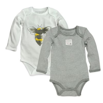 Burt's Bees Baby™ Newborn Organic Cotton Watercolor Bee and Stripe Bodysuits in White/Grey