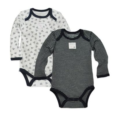 Burt's Bees Baby® Size 9M 2-Pack Organic Cotton Stripe and Honeybee Bodysuits in Blueberry