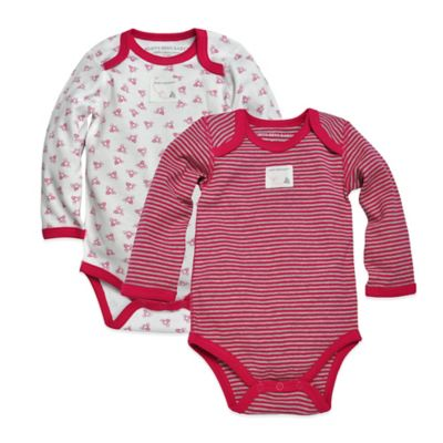 Burt's Bees Baby™ Newborn 2-Pack Organic Cotton Stripe and Honeybee Bodysuits in Wild Strawberry