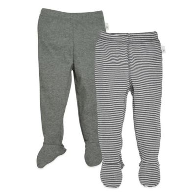 Burt's Bees Baby® Size 9M 2-Pack Stripe/Solid Organic Cotton Footed Pants in Grey
