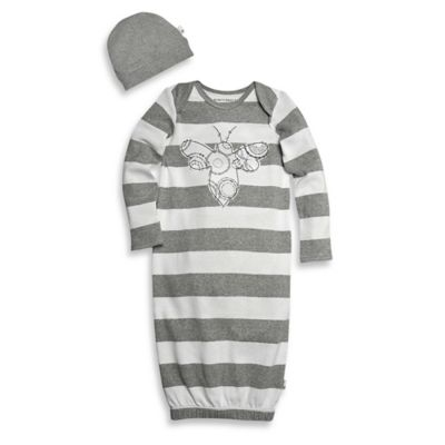 Burt's Bees Baby® Size 0-9M 2-Piece Organic Cotton Spiral Bee Gown and Hat Set in Grey