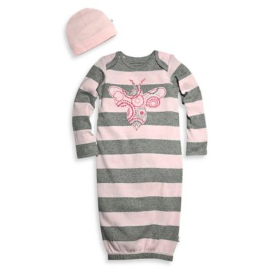 Burt's Bees Baby® Size 0-9M 2-Piece Organic Cotton Spiral Bee Gown and Hat Set in Pink
