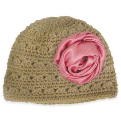 So'Dorable Size 0-6M Crochet Hat with Pink Satin Flower