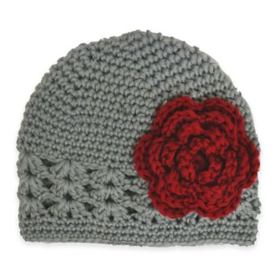 So'Dorable Size 0-6M Crochet Hat with Flower in Grey/Red