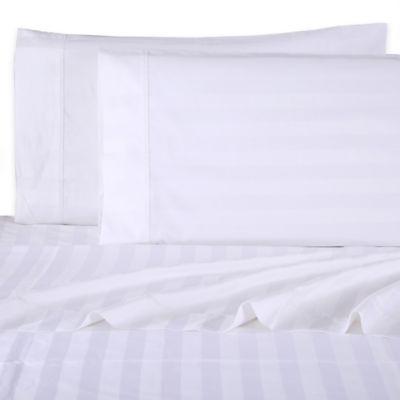 Wamsutta® Dream Zone® 1000 Sateen Deep Pocket California King Sheet Set in White Stripe