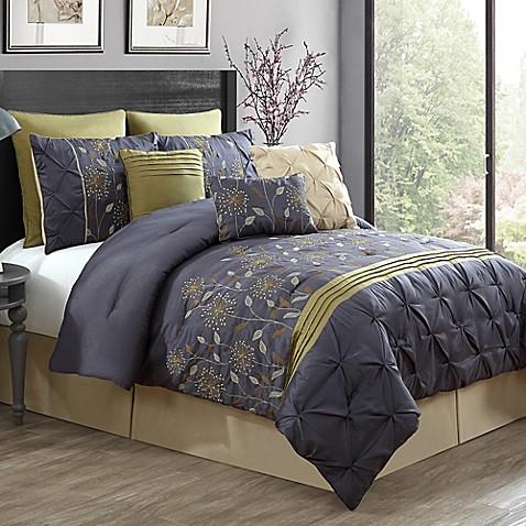 wonderful gray green bedroom bedding | Buy Prairie 9-Piece Queen Comforter Set in Green/Grey from ...