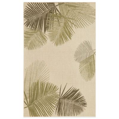 Liora Manne Terrace Palms 3-Foot 3-Inch x 4-Foot 10-Inch Indoor/Outdoor Area Rug in Green