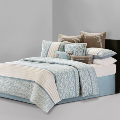 N Natori® Fretwork Queen Duvet Cover Set in Aqua