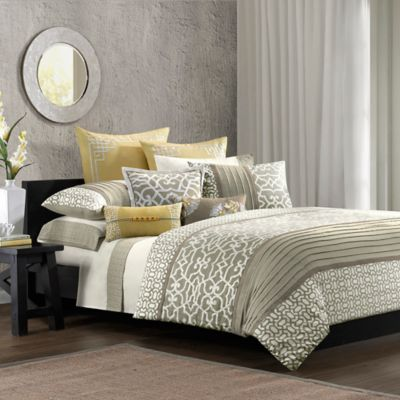 N Natori® Fretwork Queen Duvet Cover in Multi