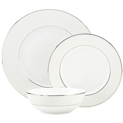 Lenox® Venetian Lace 3-Piece Place Setting with All Purpose Bowl in White
