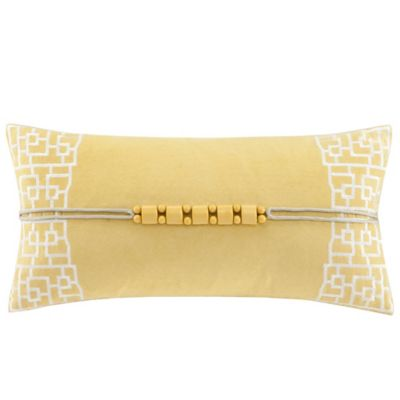 N Natori® Fretwork Oblong Throw Pillow in Yellow
