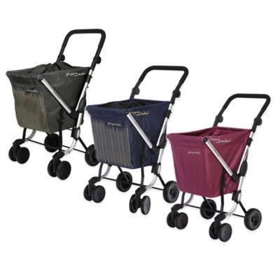 We Go Shopping Trolley with Waterproof Rain Cover in Plum
