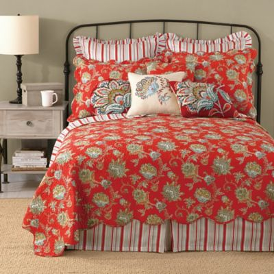 Laurel & Mayfair Jacobean Reversible Twin Quilt in Red