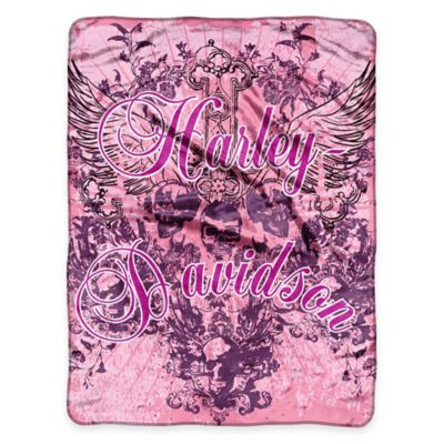 Harley Davidson® Pink Crest Micro Raschel Throw by Northwest Company