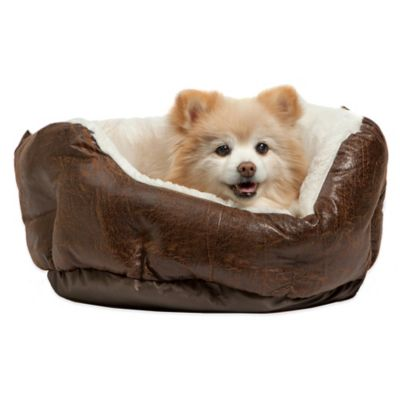 Best Friends by Sheri Faux Leather Round Cuddler Pet Bed in Brown