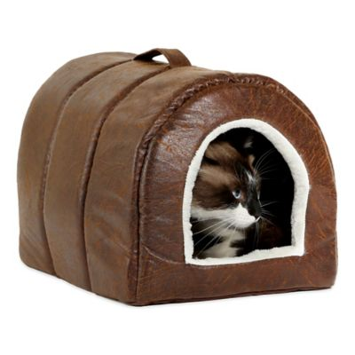 Best Friends by Sheri Faux Leather Pet Igloo in Brown