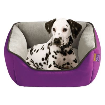 Reversible Rectangular Cuddler Pet Bed in Purple/Taupe