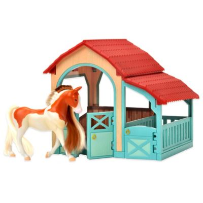 Horse Play American Painted Horse and Snap Together Stable Set