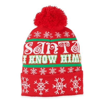"""Elf"" ""Santa I Know Him"" Pom Pom Beanie"