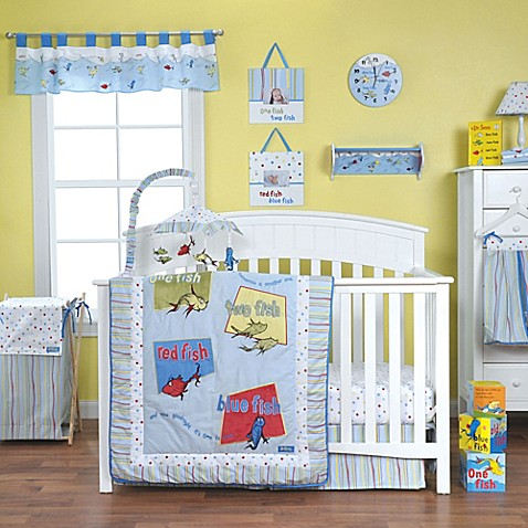 Trend lab dr seuss one fish two fish crib bedding for Fishing nursery bedding