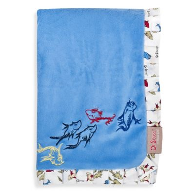 Trend Lab® Dr. Seuss™ One Fish Two Fish Ruffled Receiving Blanket