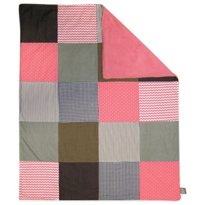 Trend Lab® Cocoa Coral Patched 2-Layer Receiving Blanket