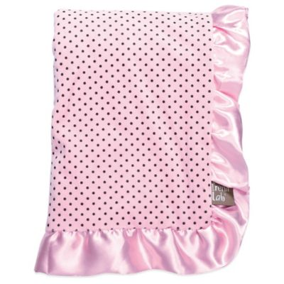 Trend Lab® Cocoa Coral Pink Dot with Satin Ruffle Receiving Blanket