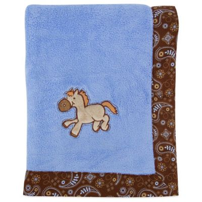 Trend Lab® Cowboy Baby Coral Fleece Receiving Blanket in Blue