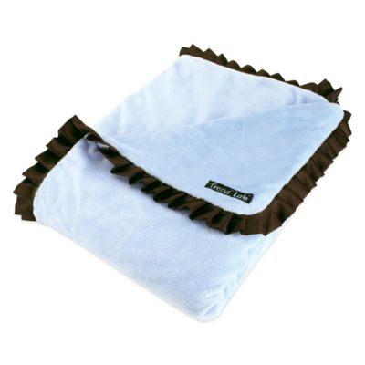 Trend Lab® Cowboy Baby Velour Ruffle Trimmed Receiving Blanket in Blue
