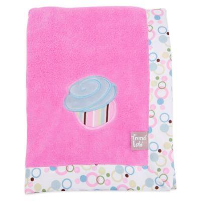 Trend Lab® Cupcake Coral Fleece Receiving Blanket