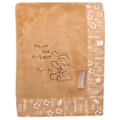 Trend Lab® Paddington Bear™ 30-Inch x 40-Inch Velour Receiving Blanket in Tan