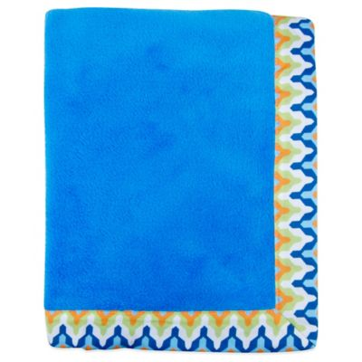 Trend Lab® Levi Coral Fleece Receiving Blanket in Blue/Chevron