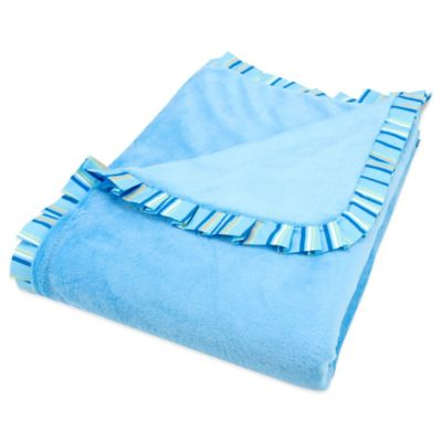 Trend Lab® Levi Ruffle Trimmed Receiving Blanket in Blue/Chevron