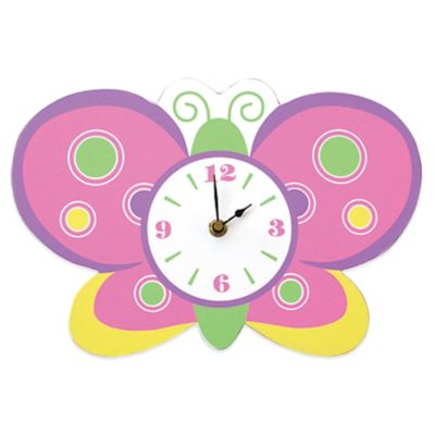 Trend Lab® Butterfly Wall Clock in Pink/Green