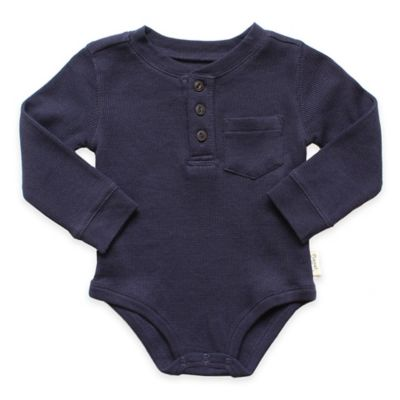 Planet Cotton® Crew Neck Long Sleeve Size 6M Henley Thermal Bodysuit in Navy