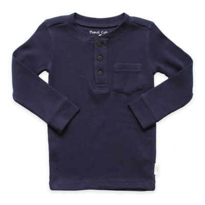 Planet Cotton® Crew Neck Long Sleeve Size 4T Thermal Henley T-Shirt with Pocket in Navy