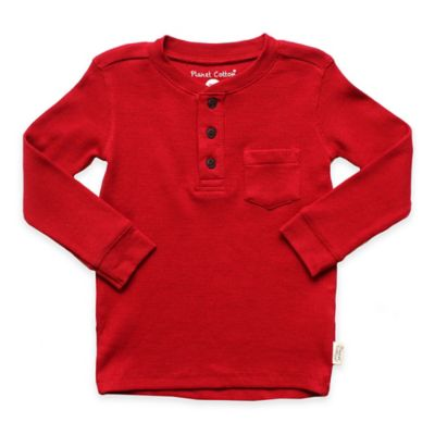 Planet Cotton® Crew Neck Long Sleeve Size 2T Thermal Henley T-Shirt with Pocket in Red
