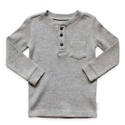 Planet Cotton® Crew Neck Long Sleeve Size 2T Thermal Henley T-Shirt with Pocket in Grey