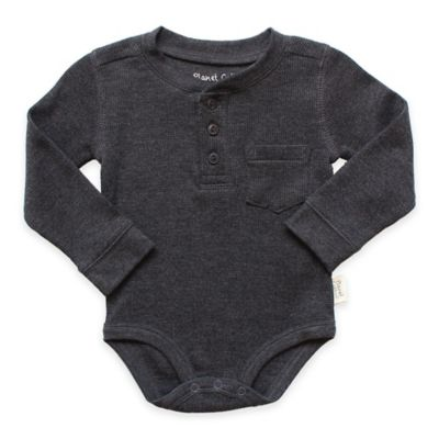 Planet Cotton® Crew Neck Long Sleeve Size 3M Henley Thermal Bodysuit in Charcoal