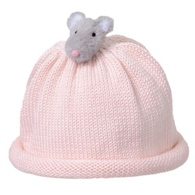 Ponytail Pals® Babynie® Small Knit Hat with Grey Mouse in Light Pink