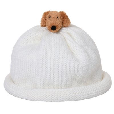 Ponytail Pals® Babynie® Small Knit Hat with Little Brown Doggy in White